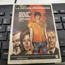 Flyers Publicitaires de films Anciens: PROGRAMA DE MANO ORIG - LA DÉCADA PRODIGIOSA - SIN CINE IMPRESO AL DORSO. Lote 219468656