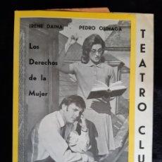 Folhetos de mão de filmes antigos de cinema: PROGRAMA DEL TEATRO CLUB CON LOS ACTORES IRENE DAINA Y PEDRO OSINAGA . AÑOS 70 .. Lote 219548645