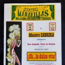 Folhetos de mão de filmes antigos de cinema: PROGRAMA DEL TEATRO MARAVILLAS BEBE PALMER , ESPERANZA ROY , MANOLITO CODESO . AÑO 1964.. Lote 219587348
