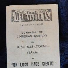 """Folhetos de mão de filmes antigos de cinema: PROGRAMA DEL TEATRO MARAVILLAS CON JOSÉ SAZATORNIL """" SAZA"""" . AÑO 1959.. Lote 219589307"""