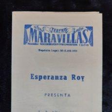 Folhetos de mão de filmes antigos de cinema: PROGRAMA DEL TEATRO MARAVILLAS CON ESPERANZA ROY Y ANTONIO CASAL. AÑO 1959.. Lote 219590342
