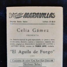 Folhetos de mão de filmes antigos de cinema: PROGRAMA DEL TEATRO MARAVILLAS CON CELIA GAMEZ . AÑOS 50.. Lote 219594018