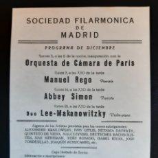 Cine: PROGRAMA DE LA SOCIEDAD FILARMÓNICA DE MADRID . AÑOS 50.. Lote 219600667