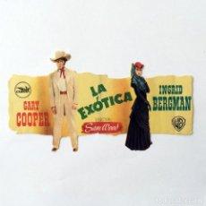 Folhetos de mão de filmes antigos de cinema: PROGRAMA CINE - LA EXÓTICA - GARY COOPER INGRID BERGMAN - 1945. Lote 219614571