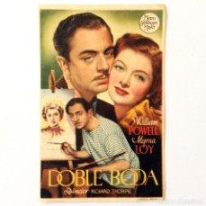 Cine: PROGRAMA CINE - DOBLE BODA -1937. Lote 219622206