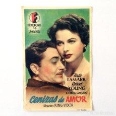 Cine: PROGRAMA CINE - CENIZAS DE AMOR - 1941. Lote 219622705