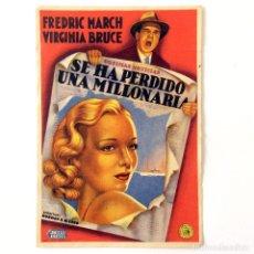 Cine: PROGRAMA CINE - SE HA PERDIDO UNA MILLONARIA - 1938. Lote 219624072