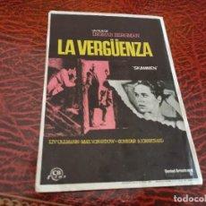 Cine: PROGRAMA DE MANO ORIG - LA VERGÜENZA - SIN CINE DE IMPRESO AL DORSO. Lote 219625126