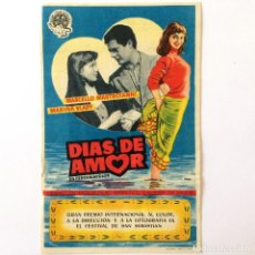 Cine: PROGRAMA CINE - DIAS DE AMOR - MARCELO MASTROIANI - 1954. Lote 219641698