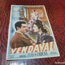 Flyers Publicitaires de films Anciens: PROGRAMA DE MANO ORIG - VENDAVAL - SIN CINE IMPRESO AL DORSO. Lote 219655231