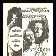 Cine: PROGRAMA DE CINE LOCAL; EL SEPTIMO SELLO. INGMAR BERGMAN. Lote 288507093
