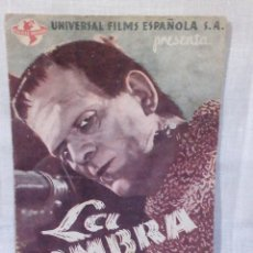 Cine: ~~~~ FOLLETO DOBLE, LA SOMBRA DE FRANKENSTEIN, BORIS KARLOFF, BELA LUGOSI. UNIVERSAL FILMS ~~~~. Lote 219753967