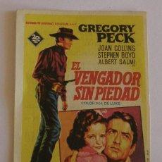Cine: PROGRAMA DE CINE EL VENGADOR SIN PIEDAD. Lote 219858205
