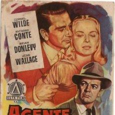 Flyers Publicitaires de films Anciens: FOLLETO DE MANO - AGENTE ESPECIAL - CORNEL WIILDE - REVERSO SELLADO CINE MAGALDI - AÑOS 50. Lote 219858698