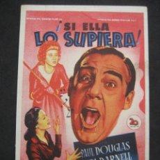 Cine: SI ELLA LO SUPIERA. CHARLES COBURN. CINE GOYA, ZARAGOZA. PROGRAMA CON PUBLICIDAD.. Lote 219974952