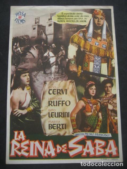 LA REINA DE SABA. GINO CERVI, LEONORA RUFFO. CINEMA LATORRE, ESCUCHA. PROGRAMA CON PUBLICIDAD (Cine - Folletos de Mano - Aventura)