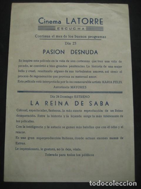 Cine: LA REINA DE SABA. GINO CERVI, LEONORA RUFFO. CINEMA LATORRE, ESCUCHA. PROGRAMA CON PUBLICIDAD - Foto 2 - 219975766