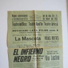 Cine: GUERRA CIVIL-VILANOVA I LA GELTRU-TEATRO APOLO,ARTESA Y DEL BOSC-AÑO 1937-PROGRAMA DE CINE-(K-598). Lote 220087542