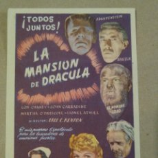 Cine: PROGRAMA DE CINE - FOLLETOS DE MANO - LA MANSIÓN DE DRACULA. Lote 220099710
