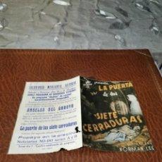 Foglietti di film di film antichi di cinema: PROGRAMA DE MANO ORIG DOBLE - LA PUERTA DE LAS SIETE CERRADURAS - CON CINE IMPRESO AL DORSO. Lote 220107565