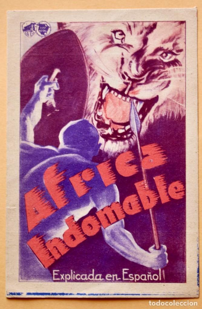 AFRICA INDOMABLE PROGRAMA TARJETA WARNER DOCUMENTAL - SAVOY- W.D.HUBBARD. (Cine - Folletos de Mano - Documentales)