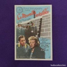 Cine: PROGRAMA DE CINE ORIGINAL. VITORIA (ALAVA). NUEVO TEATRO 1948. LA MURALLA INVISIBLE. SIMPLE.. Lote 220250032