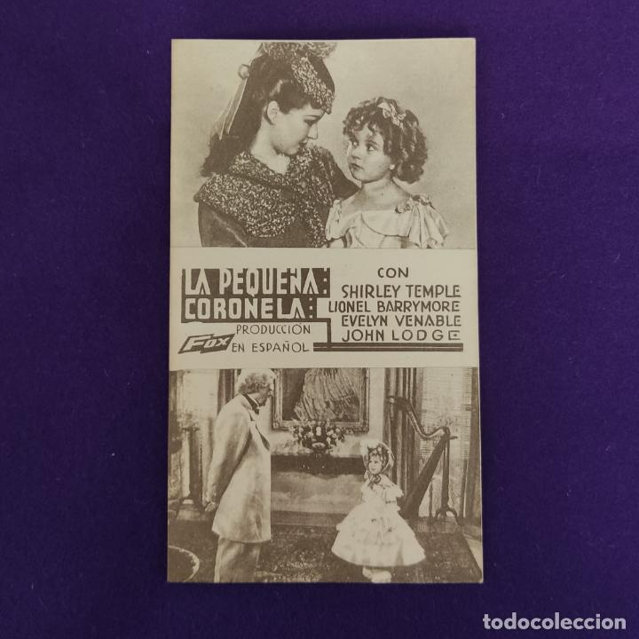 PROGRAMA DE CINE ORIGINAL. LA PEQUEÑA CORONELA. SHIRLEY TEMPLE. TARJETA. (Cine - Folletos de Mano - Comedia)