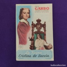 Cine: PROGRAMA DE CINE ORIGINAL. TEATRO BRETON. LA REINA CRISTINA DE SUECIA. GRETA GARBO. SIMPLE.. Lote 220251631