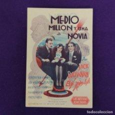 Cine: PROGRAMA DE CINE ORIGINAL. MEDIO MILLON Y UNA NOVIA. JACK BUCHANAN. ELSIE RANDOLPH. TARJETA.. Lote 220254975