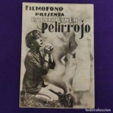 Flyers Publicitaires de films Anciens: PROGRAMA DE CINE ORIGINAL. PELIRROJO. ROBERT LYNEN. DOBLE.. Lote 220258693