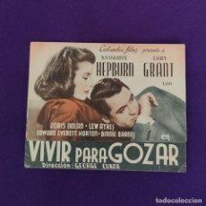 Cine: PROGRAMA DE CINE ORIGINAL. SAN SEBASTIAN (GUIPUZCOA). VIVE PARA GOZAR. DOBLE.. Lote 220265345