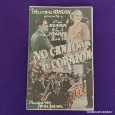 Cine: PROGRAMA DE CINE ORIGINAL. YO CANTO PARA TU CORAZON. LIEN DEYER. DOBLE.. Lote 220265646