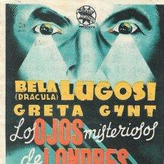 Cine: PN - PROGRAMA DE CINE - LOS OJOS MISTERIOSOS DE LONDRES - BELA LUGOSI - ALIATAR CINEMA (GRANADA). Lote 220397130
