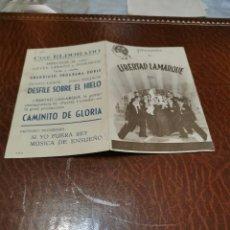 Cine: PROGRAMA DE MANO ORIG DOBLE - CAMINITO DE GLORIA - CON CINE ELDORADO IMPRESO AL DORSO. Lote 220399525