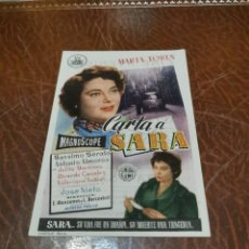 Cine: PROGRAMA DE MANO ORIG - CARTA A SARA - CON CINE DE DON BENITO IMPRESO AL DORSO. Lote 220399718