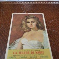 Flyers Publicitaires de films Anciens: PROGRAMA DE MANO ORIG - LA MUJER DE NADIE - SIN CINE IMPRESO AL DORSO. Lote 220409478