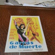 Folhetos de mão de filmes antigos de cinema: PROGRAMA DE MANO ORIG - GARRAS DE MUERTE - CON CINE AVENIDA IMPRESO AL DORSO. Lote 220426835