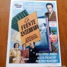 Foglietti di film di film antichi di cinema: PROGRAMA DE CINE - LA FUENTE ENTERRADA - CINE CARMEN Y CINE ECONOMICO DE PALAMÓS. Lote 220524266