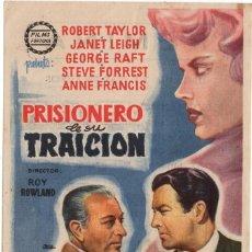 Flyers Publicitaires de films Anciens: FOLLETO DE MANO - PRISIONERO DE SU TRAICION - ROBERT TAYLOR - CINE FEMINA - TARRAGONA - AÑOS 1959. Lote 220530882