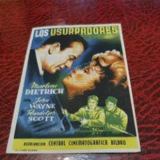 Flyers Publicitaires de films Anciens: PROGRAMA DE MANO ORIG - LOS USURPADORES - CON CINE IMPRESO AL DORSO. Lote 220683913
