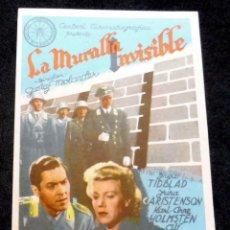 Cine: PROGRAMA DE CINE - LA MURALLA INVISIBLE - S/P. Lote 220772576