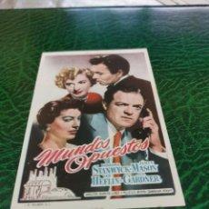 Folhetos de mão de filmes antigos de cinema: PROGRAMA DE MANO ORIG - MUNDOS OPUESTOS - CON CINE DE GRANADA IMPRESO AL DORSO. Lote 220782616