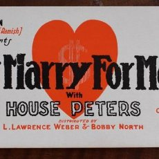 Cine: DON'T MARRY FOR MONEY - HOUSE PETERS- 1923. Lote 220837301