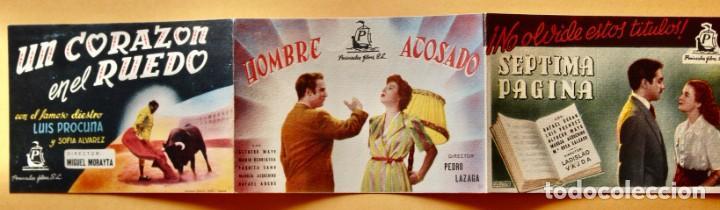 PROGRAMA CALENDARIO FUTBOL LIGA 1951/52, SÉPTIMA PÁGINA, HOMBRE ACOSADO Y UN CORAZÓN EN EL RUEDO (Cine - Folletos de Mano - Acción)