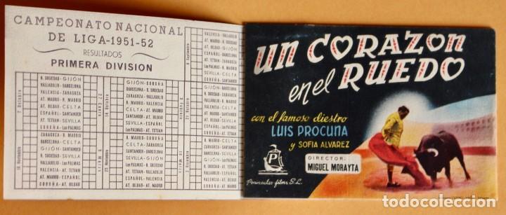 Cine: PROGRAMA CALENDARIO FUTBOL LIGA 1951/52, SÉPTIMA PÁGINA, HOMBRE ACOSADO Y UN CORAZÓN EN EL RUEDO - Foto 3 - 220847551