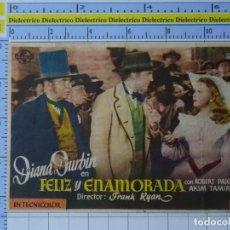 Cine: PROGRAMA CARTEL DE MANO. PELÍCULA FELIZ Y ENAMORADA. PUBLICIDAD CINE COLÓN RIBADEO LUGO. 219. Lote 220852272
