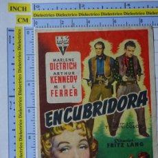 Cine: PROGRAMA CARTEL DE MANO. PELÍCULA ENCUBRIDORA. PUBLICIDAD CINE CAROLINA CORONADO ALMENDRALEJO 220. Lote 220852360