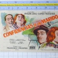 Cine: PROGRAMA CARTEL DE MANO. PELÍCULA CONFIDENCIAS DE UN MARIDO. PUBLICIDAD CINE COLISEUM CÁCERES . 230. Lote 220852987
