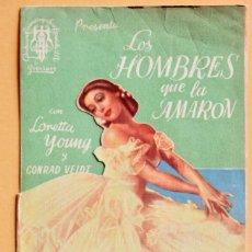 Foglietti di film di film antichi di cinema: LOS HOMBRES QUE LA AMARON. PROGRAMA DE CINE DOBLE DEL AÑO 1945. PUBLICIDAD CINE PARAISO. Lote 221262763