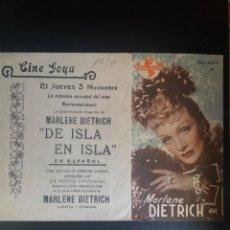 Cine: DE ISLA EN ISLA. Lote 221269381